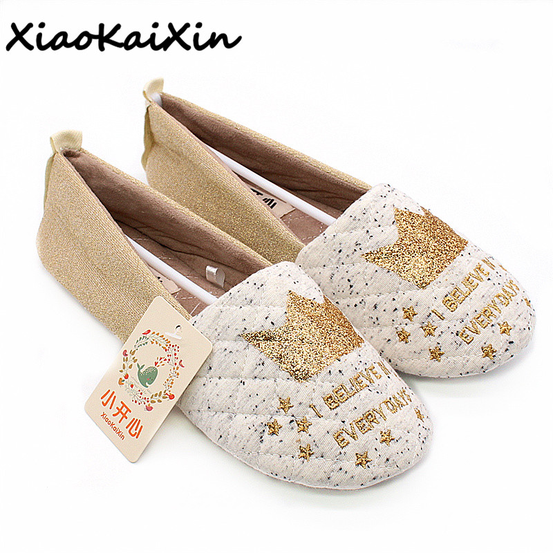 XiaoKaiXin Ladies Fashion High Quality Home Slippers Women Winter Warm Indoor Print Golden Crown Cotton House Flat Shoes Woman high quality new autumn winter velvet ladies slippers women indoor rubber sole waterproof skid warm shoes woman zapatillas emoji