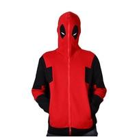 Cartoon Marvel anime clothes COS X Men's Deadpool Cotton hooded zipper hip hop Hoodies&Sweatshirts cosplay clothing