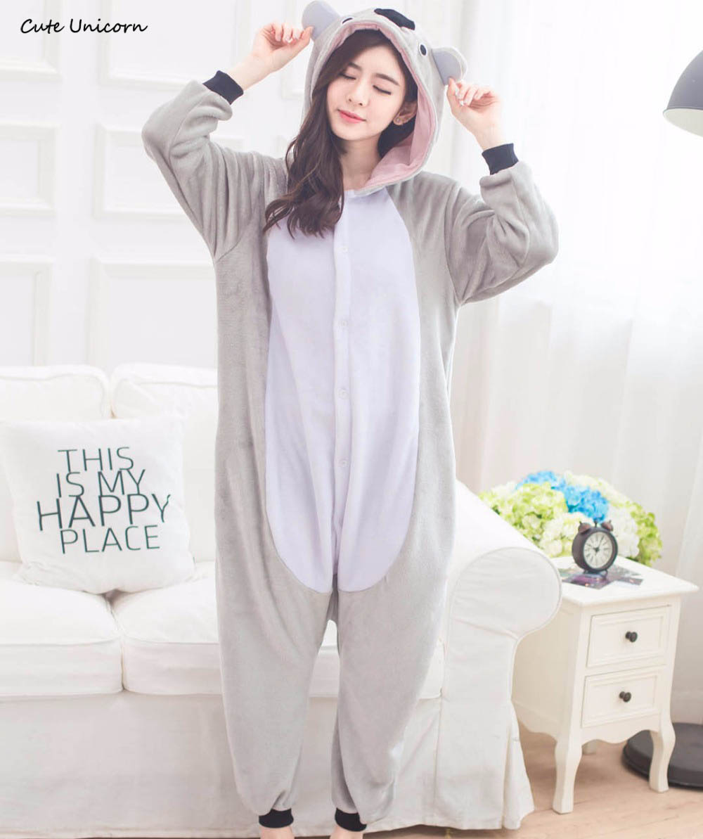 Cute Unicorn Gray Koala Koala Animal Pajamas Unisex