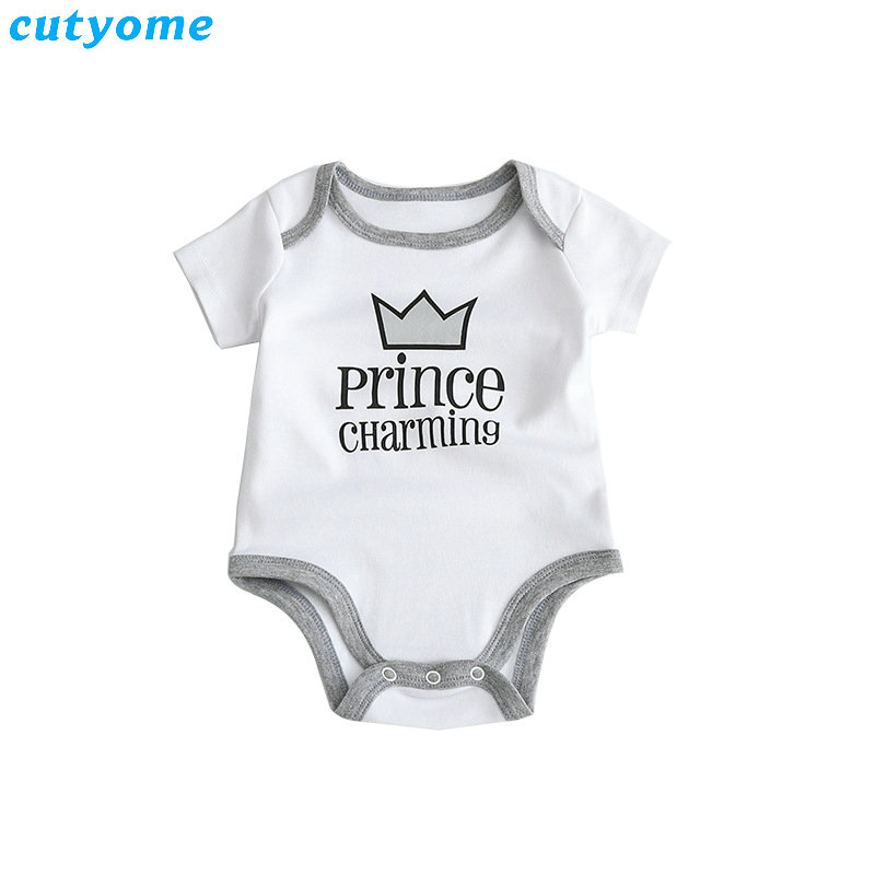 Cutyome Summer 2017 Baby Boys Rompers Prince Charming Letter Printed Infant Jumpsuits Clothes Cotton Boy Overalls 4-18M  (3)