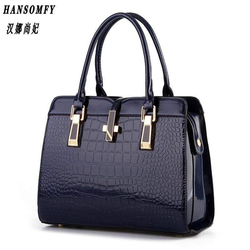 Han 100% Genuine leather Women handbag 2017 New bright patent leather crocodile pattern fashion shoulder shoulder ladies bags