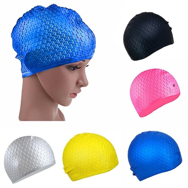 d49c63a4e9df 6 Couleurs Silicone Étanche Bonnet De Bain Chapeau pour Filles Dames Femmes  Caps Cheveux Longs Avec