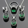 Ashley Women Silver Color Jewelry Sets Created Green Emerlad Earrings/Pendant/Necklace/Rings Free Gift Box Made in China