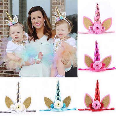 Festival bebé chico Niño Mágico unicornio cuerno brillo elástico diadema espiral unicornio cuerno Cosplay Decoración