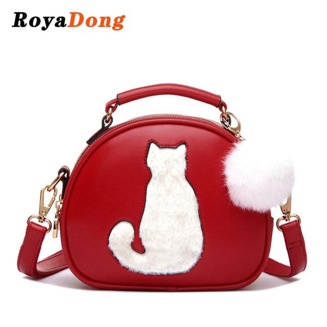 RoyaDong 2017 Women Shoulder Bags Crossbody Bag For Women Handbag PU Leather Full Moon Candy Color Cute Cat With Fur Ball