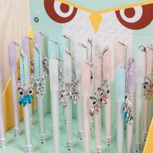 Image 2 - wholesale 20pcs kawaii gel ink pen lot fashion crystal owl pendant pens for school office students stationary cute animal pen