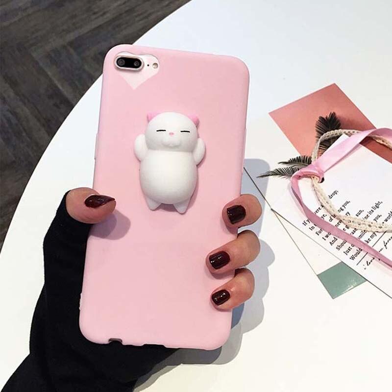 Для iPhone 7 Plus 5S 5 случае Симпатичные 3D мягкими кукла кошка печать Телефонные Чехлы для iPhone 6/6 s 5S se Карамельный цвет силиконовый чехол Интимные …