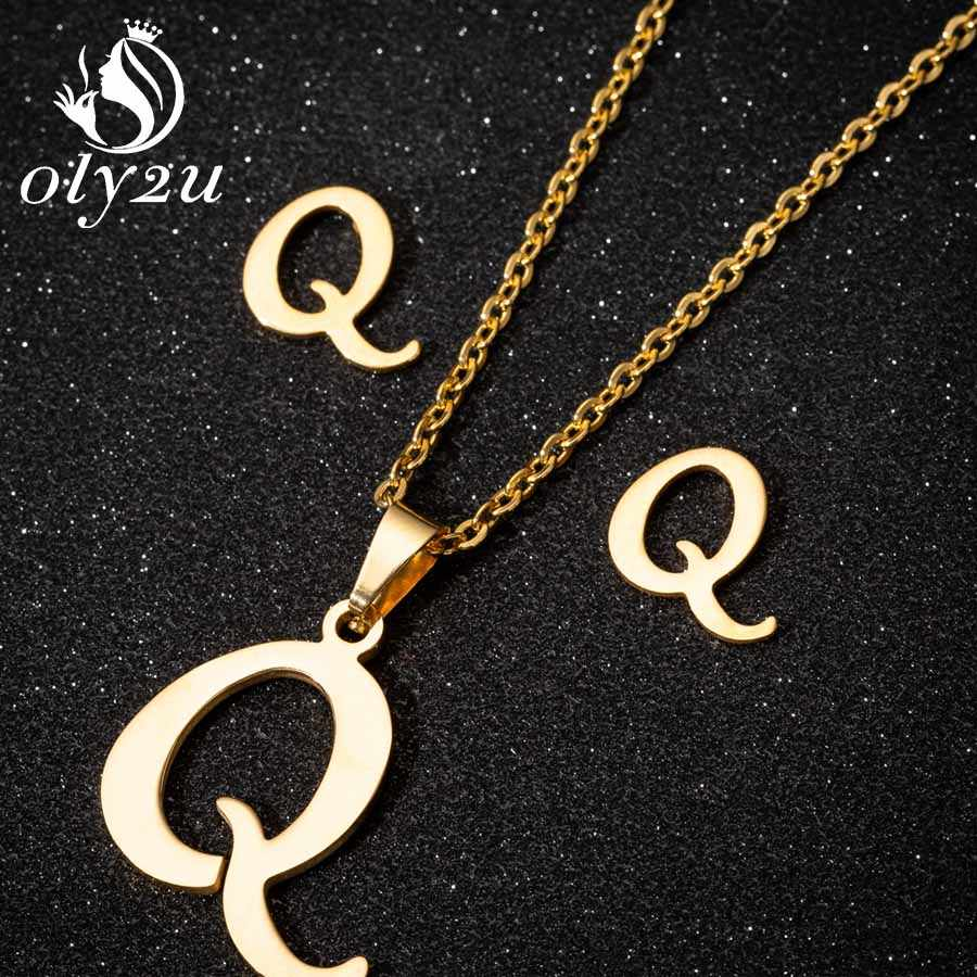 Oly2u Edelstahl Braut Schmuck Sets Für Frauen Gold Brief Halskette Choker Stud Ohrringe Schmuck Mode Halskette Set