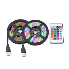 Wielokolorowa taśma LED na USB pasek lampka RGB DC 5 V 2835 podświetlenie książek telewizora żarówka ozdobne światło dekoracyjna wstęga 1 m 2 m 3 m 4 m 5m tanie tanio CHNAITEKE CN (pochodzenie) Książka światła 1 Year Przycisk komórki Żarówki led USB LED Strip light 1-5W USB LED book light