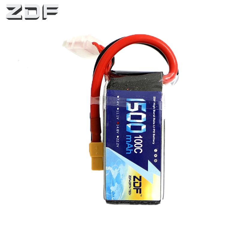 ZDF <font><b>4S</b></font> 14.8V <font><b>1500mAh</b></font> <font><b>100C</b></font> <font><b>LiPo</b></font> Battery Rechargeable XT60 Plug Connector Support Boosting Charger for RC Car Truck Airplane FPV image