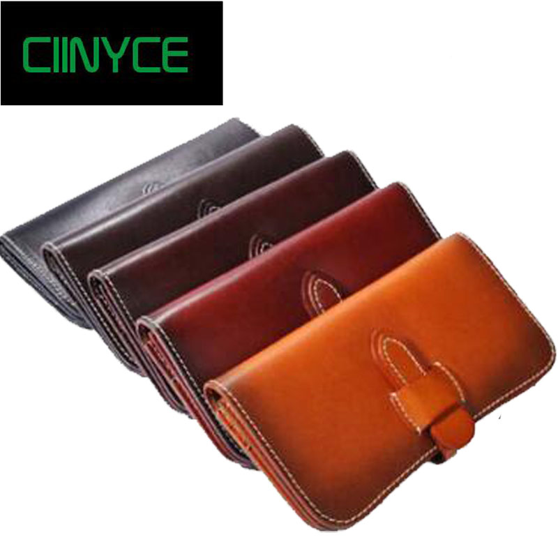 2018 New Arrival Women Genuine Cow Leather Vintage Female Day Purse Clutches Long Design Clutch Fold Female Wallet Card Holder
