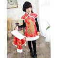 New Year Clothing Gift Children Chi-pao Chinese-Style Dresses Long Sleeve Winter Cheongsam Dress for 4-8 Years Girls Children
