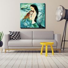 Childrens room mermaid painting core Canvas Poster Painting Cartoon Animal Wall Picture Print Children Baby Room Decoration