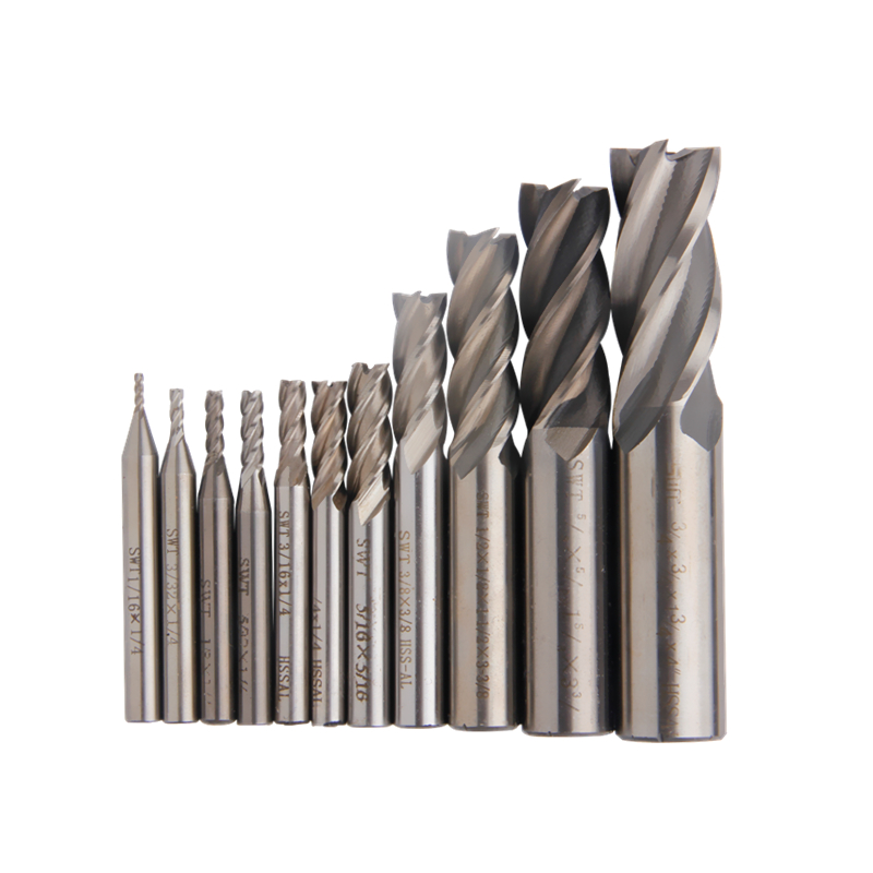 11Pcs Inch Milling Cutter Carbide End Mill HSS 4 Flutes Straight Shank Mill Inch 1/16''-3/4'' Router Bit Set CNC Cutting Tools 3 4 x 1 4 cutter tool 12mm straight shank 8 flutes hss t slot end mill milling