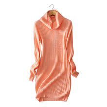 5 colors Women s dress 100 cashmere knitted knee length dresses turn down collar warm winter