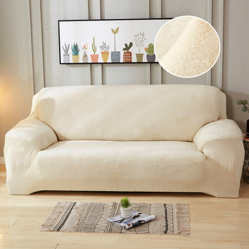 Image 4 - Plush Sofa Cover Stretch Solid Color Thick Slipcover Sofa Covers for Living Room Pets Chair Cover Cushion Cover Sofa Towel 1PC-in Sofa Cover from Home & Garden