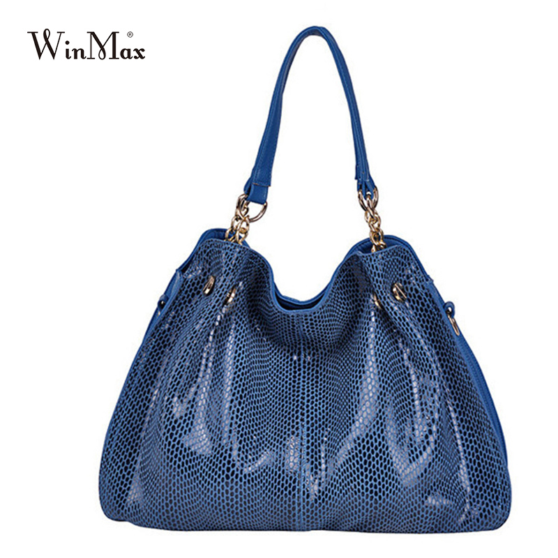 New Women Fashion Casual Leather Handbags Shoulder Bags Solid Serpentine Design Lady Top Handle Handbags snake
