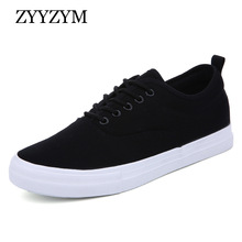 ZYYZYM Men Canvas Shoes Lace-Up Classic Style Breathable Fashion Sneakers White Vulcanized Shoes For Man