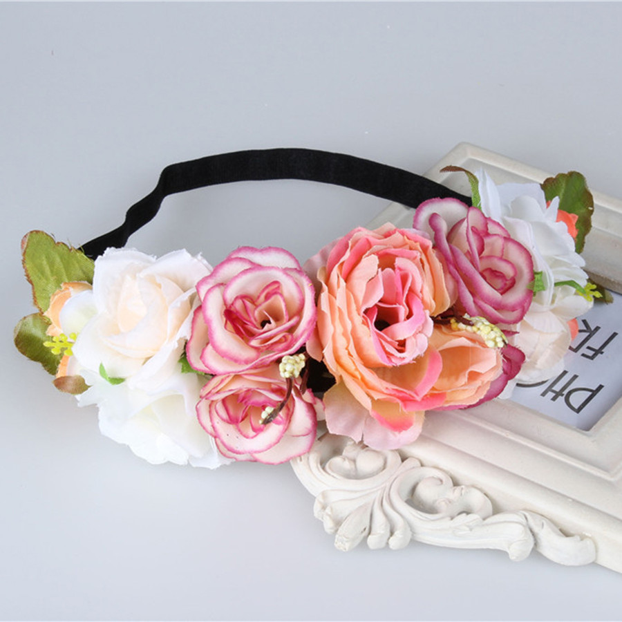 Aliexpress buy ever fairy bride flower headband wedding rose aliexpress buy ever fairy bride flower headband wedding rose flower wreath floral garlands flower crown hair accessories flower forehead wreath from izmirmasajfo