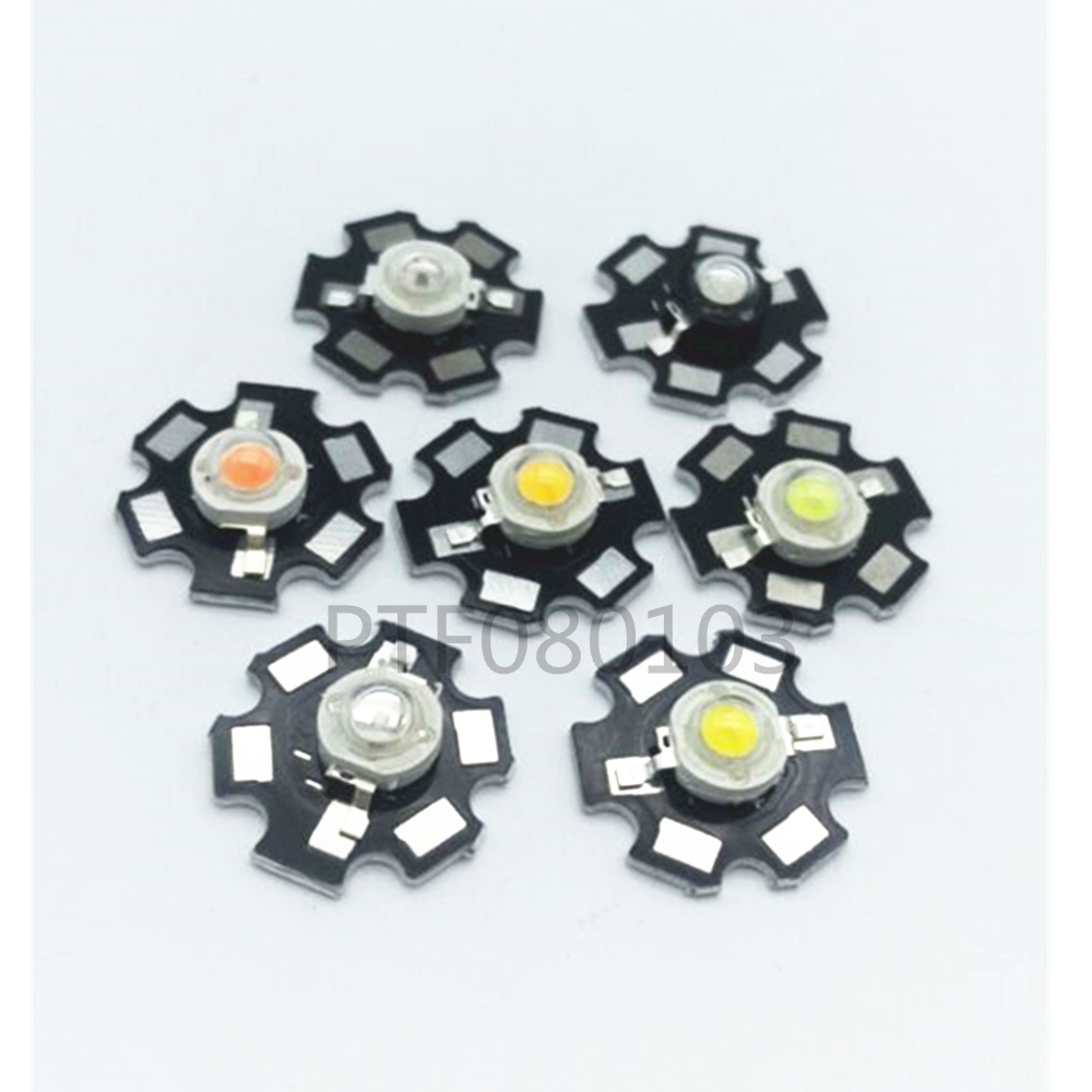 1W 3W High Power warm white/cool white /natural white/red/green/Blue/Royal blue/660/UV/IR850/940 LED with 20mm star pcb 50pcs