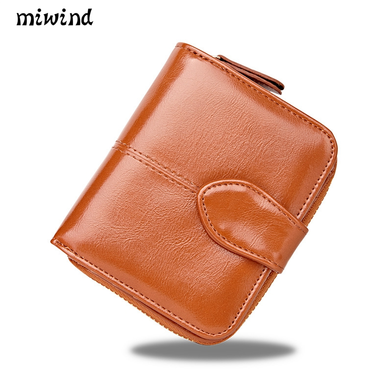 New 100% Oil Wax Leather Short Female  Wallet Easy Carry Women Wallet Fashion Dollar Price Card Holder Lady Purse Female Wallett dollar price new european and american ultra thin leather purse large zip clutch oil wax leather wallet portefeuille femme cuir