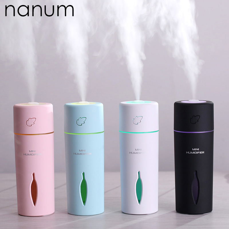 New Leaf Humidifier Mini Ultrasonic Humidifiers Led Night Light Aroma Essential Oil Diffuser USB Fogger Car Air Freshener