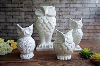 Biały coruja ceramica sowa wystrój domu sowa Kwiatek doniczkowy wazy rękodzieła rzemiosło dekoracja pokoju porcelanowe figurki zwierząt