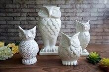 white coruja ceramica owl home decor Owl pot flower vase handicraft crafts room decoration porcelain animal figurine