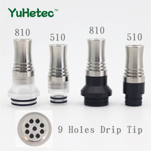 YUHETEC 2pcs 810 510 9 Holes Long Drip Tip Prevent Eliquid From Slopping Mouthpiece For RDA RTA Tank  810 цены онлайн
