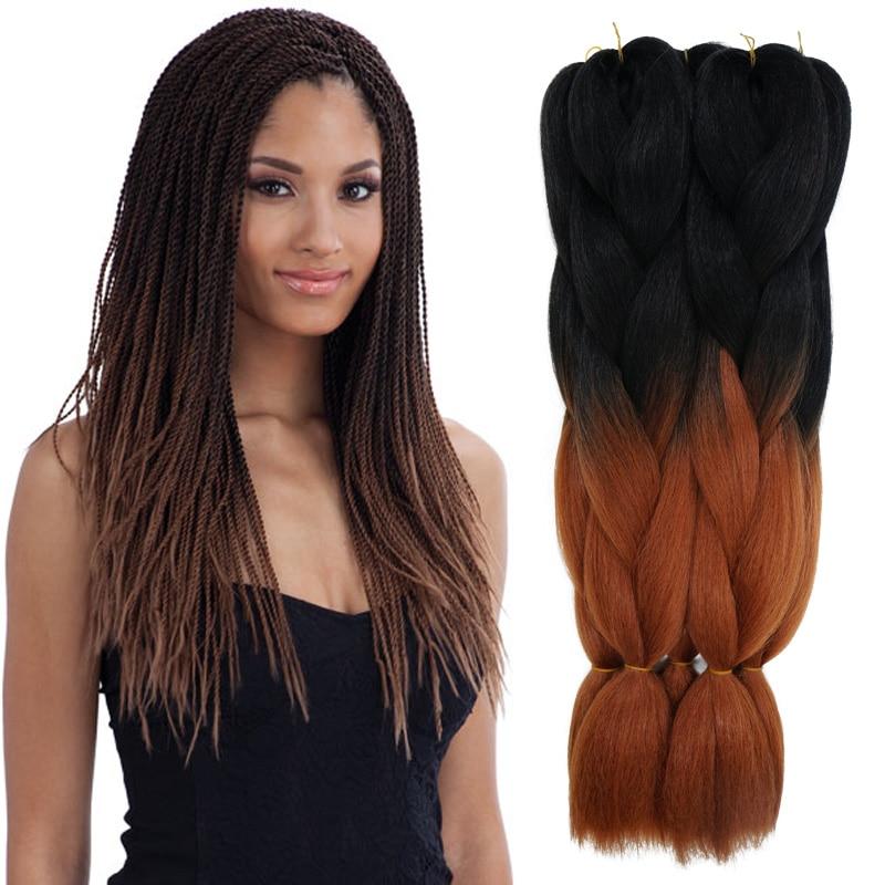 Ombre Kanekalon Dark Brown Jumbo Braiding Hair Colors 24