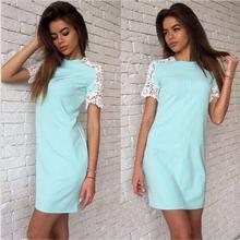 Fashion Summer Women Lace sleeve font b Dresses b font White Pink Bule 3 Colour O