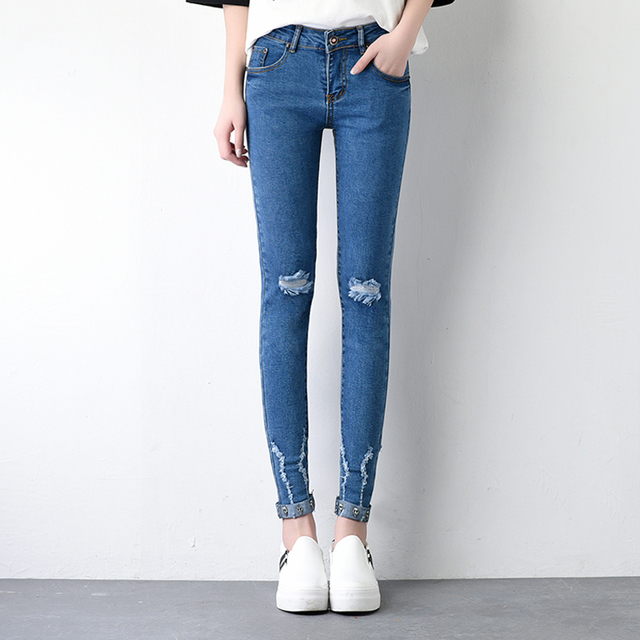New hole Jeans woman Female Distressed Slim Denim Pants Pencil Ripped Skinny Jeans For Women Skull Ankle Length Pants