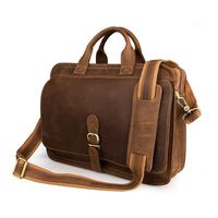 ROCKCOW Handcrafted Antique Style Top Grain Leather Mens Briefcase Messenger Bag Laptop Bag 6020