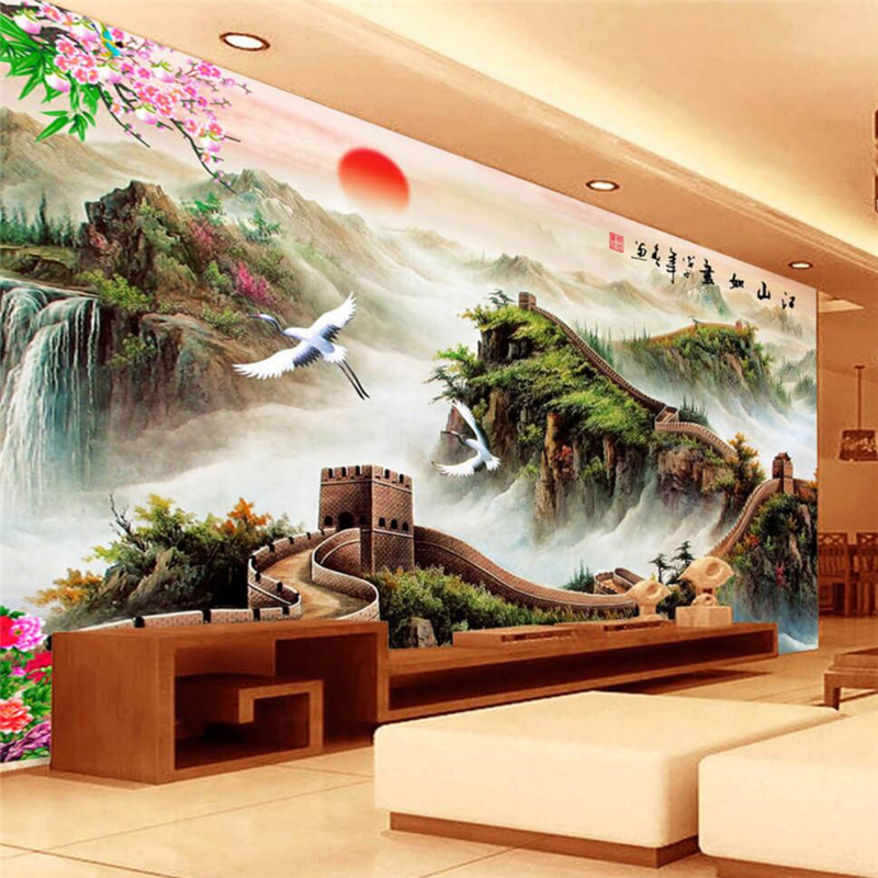 beibehang Custom Photo Wallpaper Mural 3d Chinese Wind Miles Great Wall Living Room Mural Wallpaper papel de parede 3d wallpaper beibehang custom marble pattern parquet papel de parede 3d photo mural wallpaper for walls 3 d living room bathroom wall paper