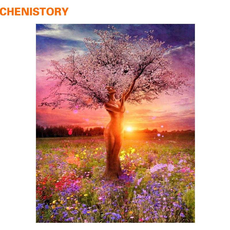 Chenistory бескаркасное сексуальное Дерево DIY картина по номерам пейзаж современный домашний Настенный декор Ручная роспись масляная живопись уникальный подарок