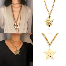 Metal Exaggerated Geometric Embossed Necklace Punk Retro Pentagon Rough Chain