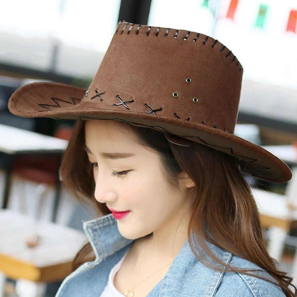 Diseño de Moda transpirable hombres mujeres estilo vaquero sombrero de  verano al aire libre viaje Cowgirl 86ce9c47107