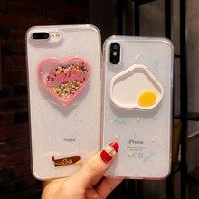 Funny Omelette Love Heart Case For iPhone 8 7 6 6s plus Glitter Dynamic Liquid Cover X XS Max XR Soft TPU Phone Cases