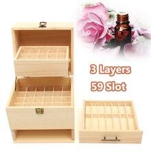 3 слоя деревянный футляр для эфирного масла Carry Организатор Коробка для хранения 59 слот бутылок ароматерапия контейнер металлический замок ювелирных изделий сокровище