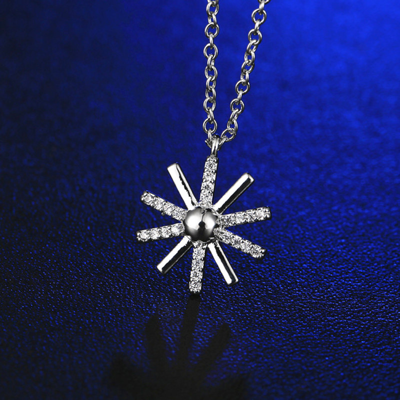 Fashion flowers necklaces simple for women silver crystal pendant & lover gift jewelry D00525