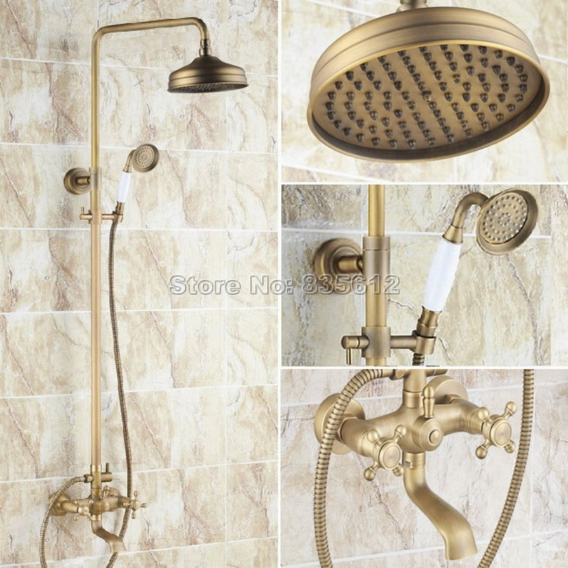 Bathroom Wall Mounted Antique Brass Rain Shower Faucet Set with Handheld Shower & Dual Cross Handles Bathtub Mixer Taps Wrs126Bathroom Wall Mounted Antique Brass Rain Shower Faucet Set with Handheld Shower & Dual Cross Handles Bathtub Mixer Taps Wrs126