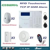 868 мГц alarma Casa Беспроводной проводной GSM ip tcp сети ALARME системы с домашним животным иммунной извещатель и Детекторы дыма