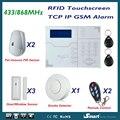 868 MHz Alarma Casa Sistemas de Alarme de Rede Sem Fio Com Fio GSM TCP IP com Pet Imune Detector PIR e Detector de Fumaça