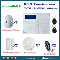 868MHz Alarma Casa Wireless Wired GSM TCP IP Network Alarme Systems with Pet Immune PIR Detector and Smoke Detector