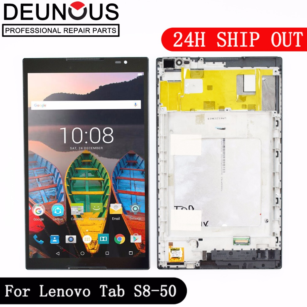 New 8 inch For Lenovo Tab S8-50 S8-50F S8-50L S8-50LC LCD Display + Touch Screen Digitizer Glass Lens assembly with frame цена