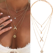 Women Multilayer Choker Horn Long Crescent Moon Pendant Chain Necklace Chain Boh
