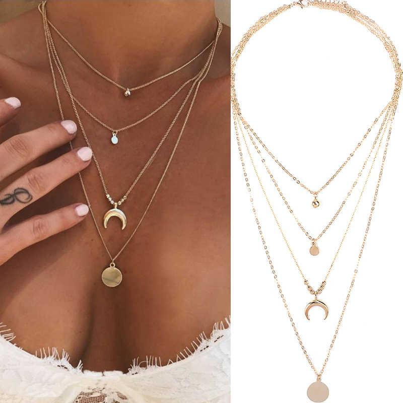 Collana da donna a più strati con corno lungo a mezzaluna con pendente a catena e gioielli in boemia