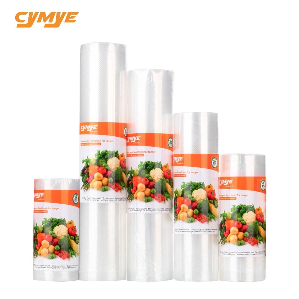 Cymye de almacenamiento de alimentos saver bolsas de vacío de plástico rollo de bolsas de tamaño para la cocina de vacío sellador para mantener los alimentos frescos