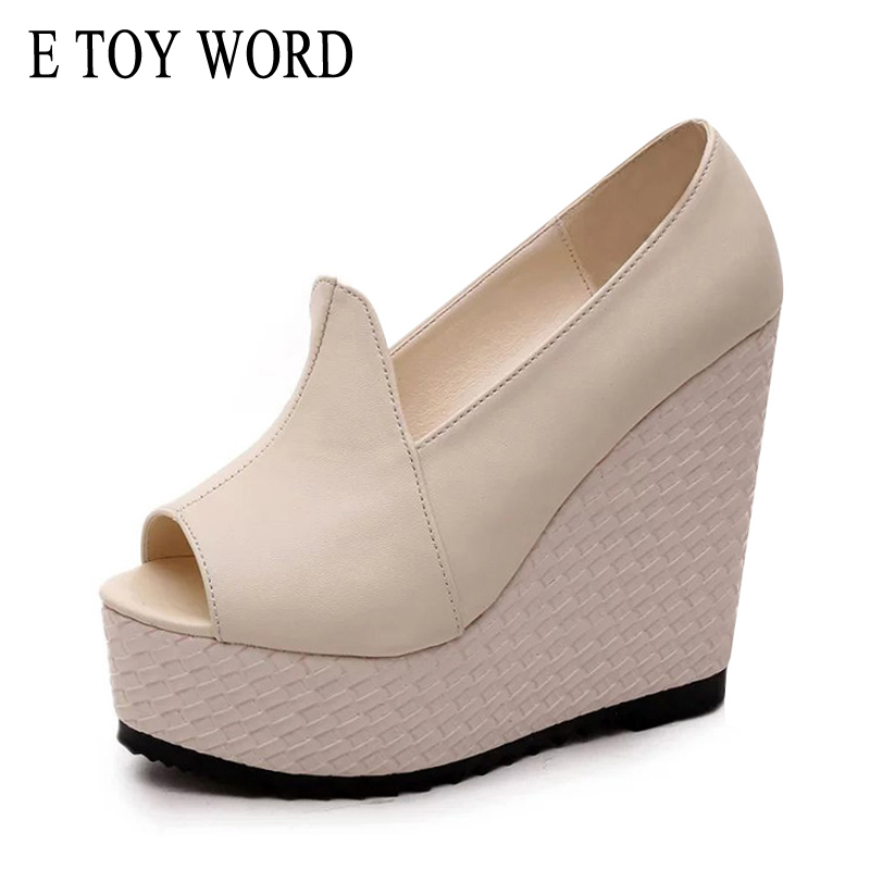 E TOY WORD Brand Sandals Women Sexy Open-Toe Wedges High Heels Sandals 2018 Summer Platform Casual Women Shoes Size 35-39 e toy word summer platform wedges women sandals antiskid high heels shoes string beads open toe female slippers
