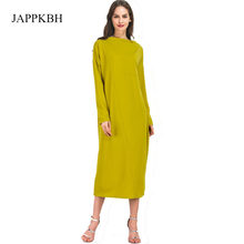 JAPPKBH Plus Size Yellow Dress Women Autumn Spring Casual Long Sleeve Women Dresses Elegant Loose Sexy Dress Vestidos Robe Femme(China)